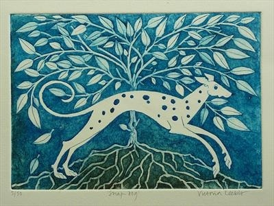 Snap-Dog - Victoria Keeble Collagraph
