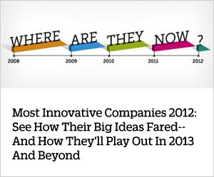"""Most Innovative Companies - Fast Company: Pinterest.""    ""A year ago, the social scrapbooking site was dubbed the fastest-growing web service in history. Where do you go from there? Up. Pinterest is now one of the top 50 most-visited sites in the U.S., and retailers are excited: The average purchase off a pinboard nets more than double those off a wall post or a tweet. Late last year, it simplified the process for companies to create pinboards."""