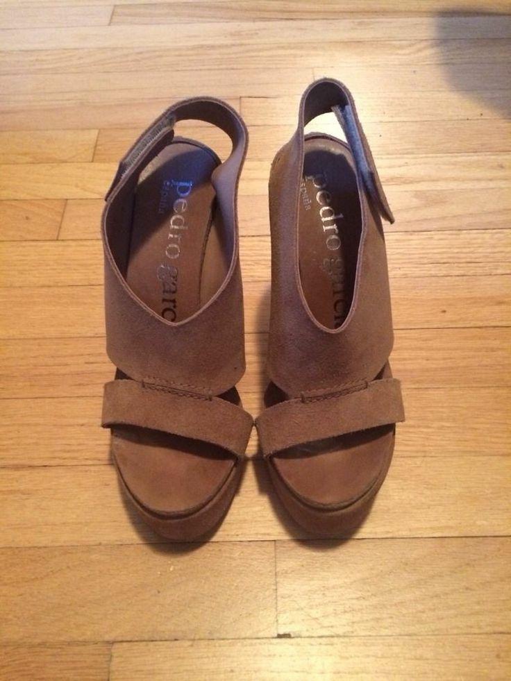 PEDRO GARCIA Open Toe Wedge Sandals Camal Size 37.5 Calleen Cordero-esque