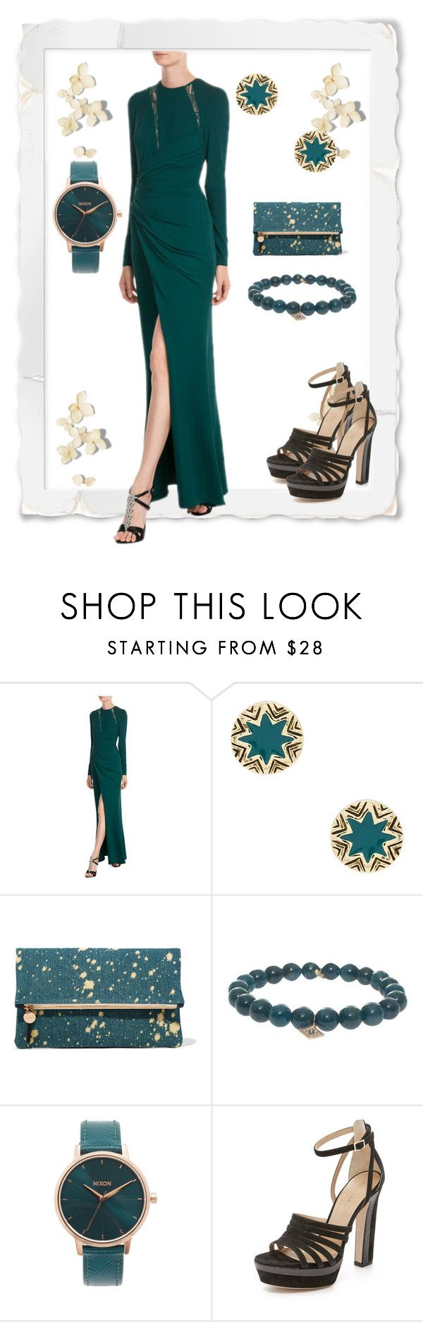 """""""Green Slit Attire"""" by paige-brrian ❤ liked on Polyvore featuring Elie Saab, House of Harlow 1960, Clare V., Sydney Evan, Nixon and Tamara Mellon"""