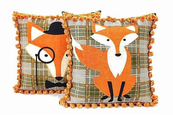 Orange tartan plaid fox throw pillow with tassel fringe