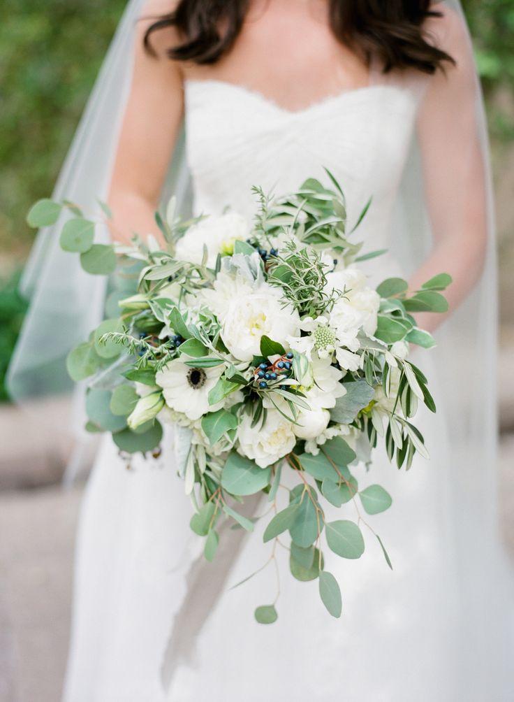 #peony, #anemone, #eucalyptus  Photography: Elyse Hall Photography - elysehall.com Floral Design: Butterfly Petals - butterflypetals.com Wedding Dress: Monique Lhuillier - www.moniquelhuillier.com/