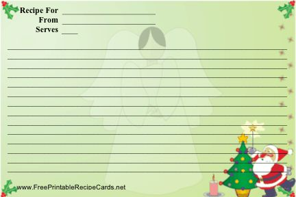 Santa tops the Christmas tree in the foreground while an angel is in the background of this colorful, printable recipe card. Free to download and print