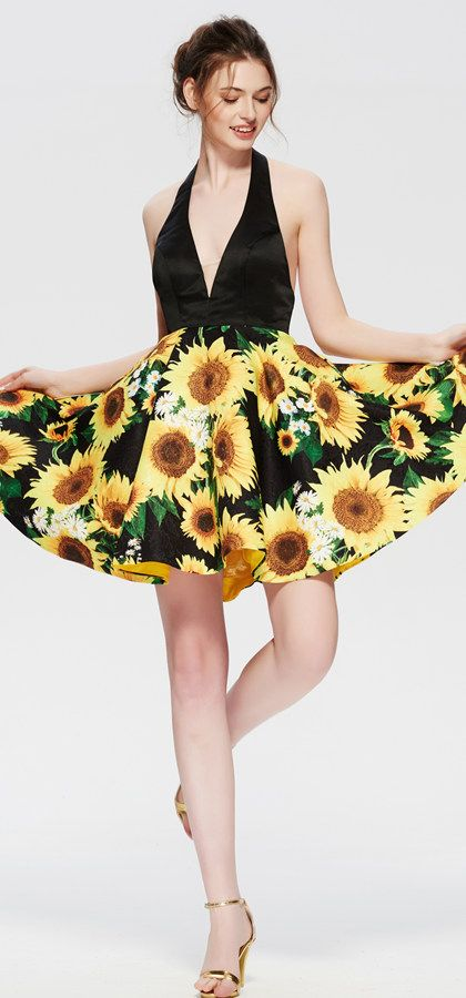 83266711f5 Floral sunflower yellow backless homecoming Dress Short Prom Dress ...