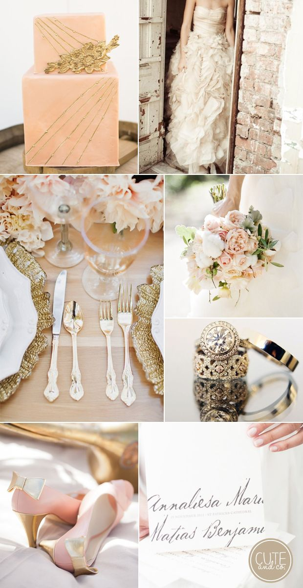 Peachy Pink & Gold Wedding Inspiration--> I think I just found my colors!!! I AM IN LOVE with the ring!!!! // Cute & Co.