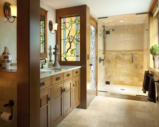 mission style bathroom with tree of life stained glass door