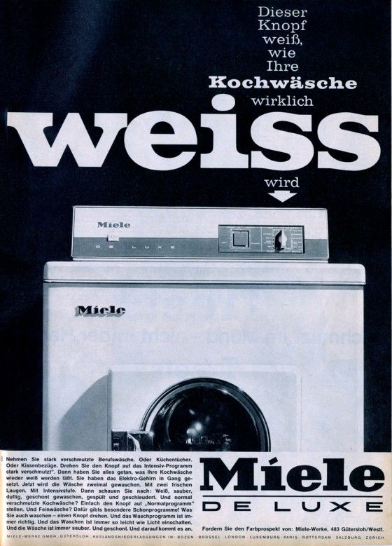 Miele Waschmaschine, Ad from 1964... Kitchen & Bath Cottage in Shreveport, LA is an authorized Miele dealer. Visit us at www.kbcottage.com