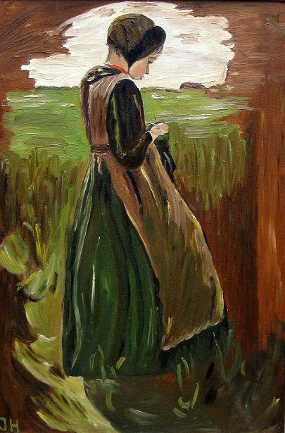 Girl Knitting, Max Liebermann (1847 – 1935, German)