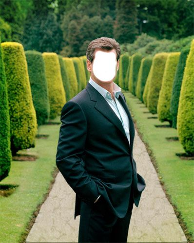 Вставить фотографию. мужчина в костюме в парке