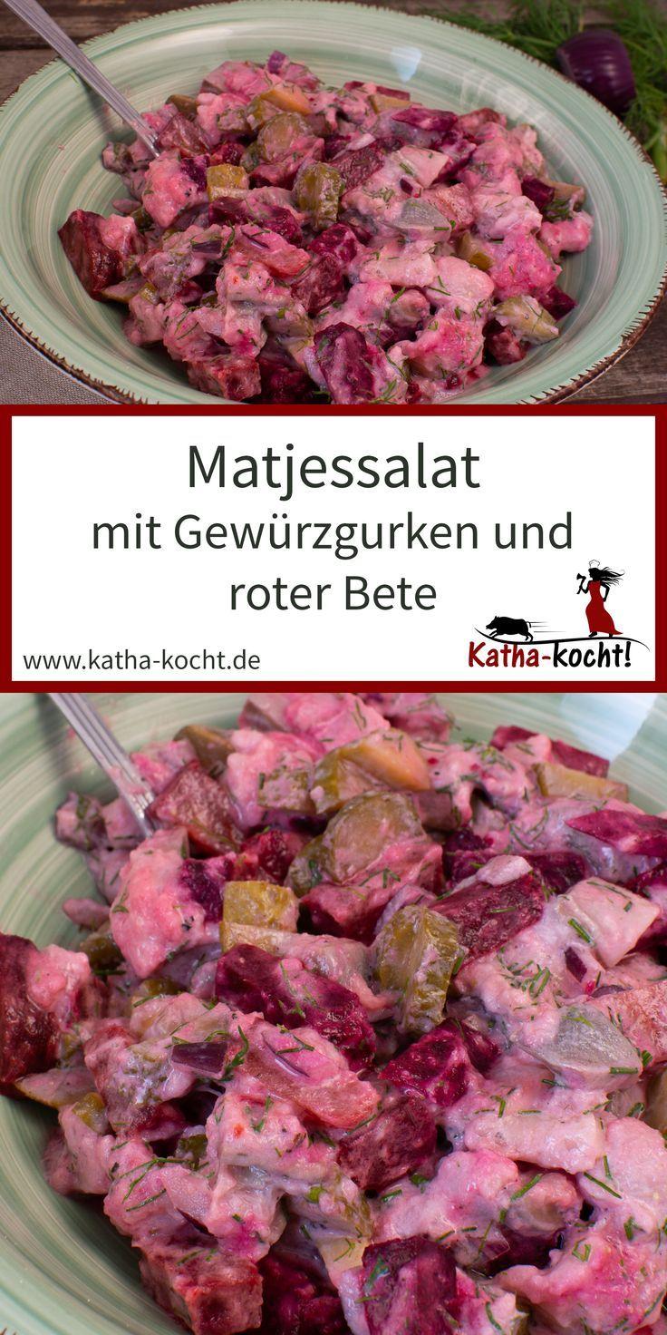 Matjessalat mit Gurken und roter Bete – Katha-kocht! – Alle Rezepte – #alle #Bet…