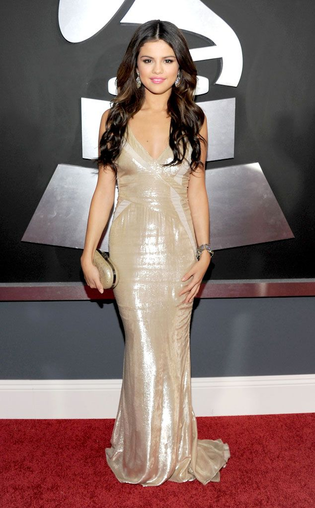 The young star shimmered in a metallic J. Mendel gown that lent her a gorgeous glow at the 2011 Grammy Awards.