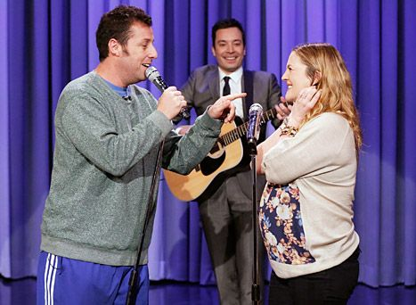 Adam Sandler Drew Barrymore Sing About Their Love On Tonight Show