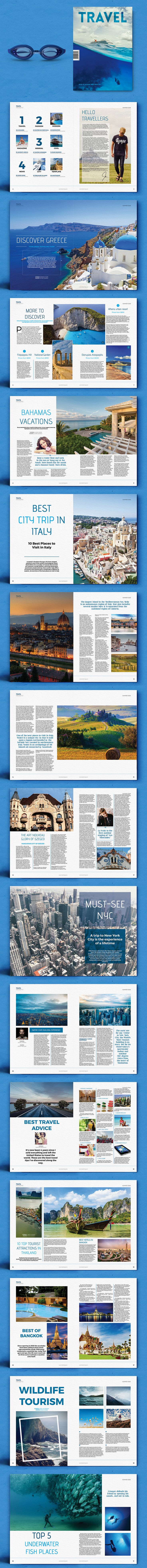 Travel Magazine 32 Pages Template InDesign INDD