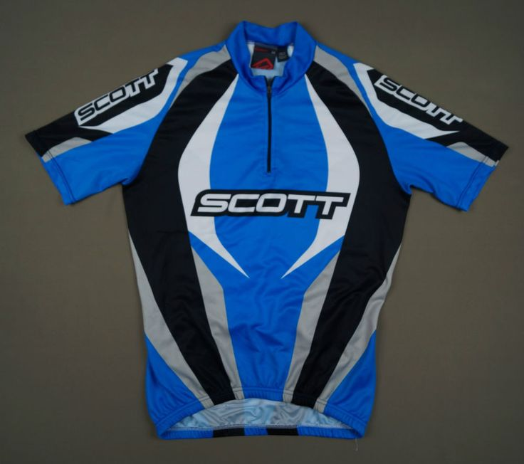 Genuine SCOTT Cycling Jersey T-shirt Size M EU 48 Blue Black Polyester