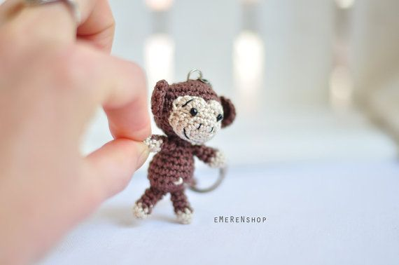 Crochet keychain  Monkey Amigurumi Keyring  Little by EMERENstore