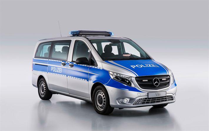 Descargar fondos de pantalla Mercedes-Benz Vito, Tourer PRO, coche de policía, minibús, la policía alemana, Alemania, BlueTEC, Mercedes