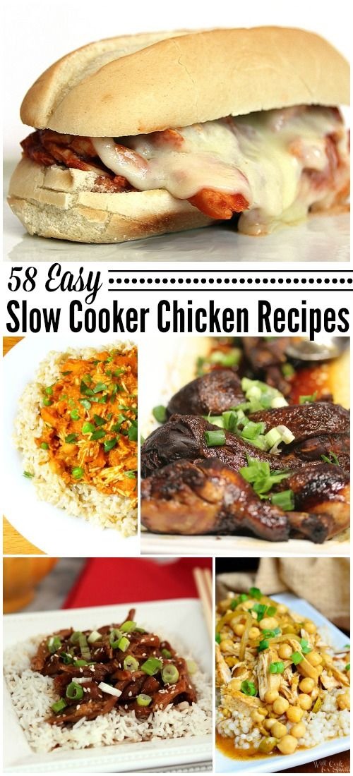 Slow Cooker Chicken Recipes - Save time, money and calories by cooking at home in your slow cooker versus fast food, check out my 58 Slow Cooker Chicken Recipes