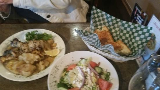 Greek Salad, Garlic toast and all the extras that went with the meal!Santa Lucia Pizza Winnipeg