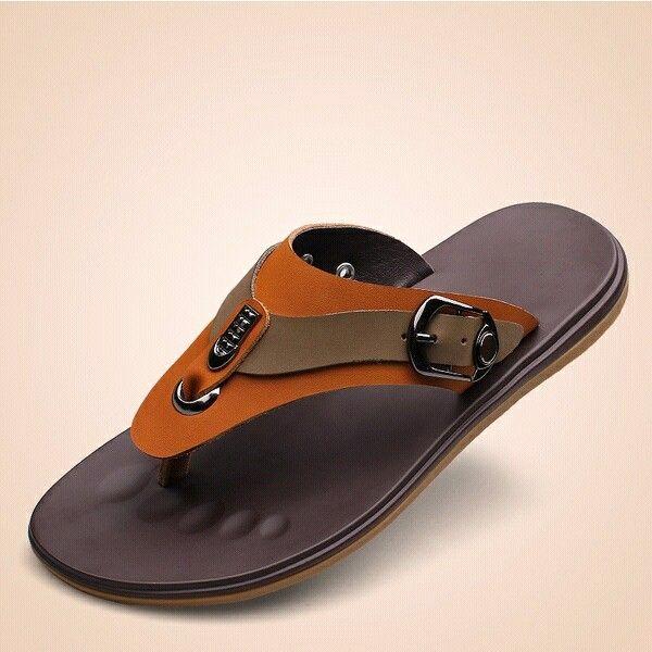 Brown Italian Genuine Clip Toe Flat Sandals Pu Leather Flip-flops Beach Sandals Men Summer Slipper Roman Shoes