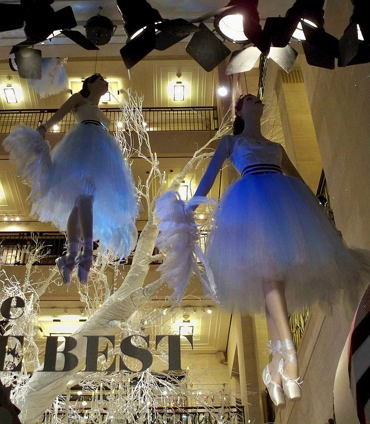 Dangling Ballerinas 2   These ballerinas hang from the ceiling and rotate inside Henri Bendel.