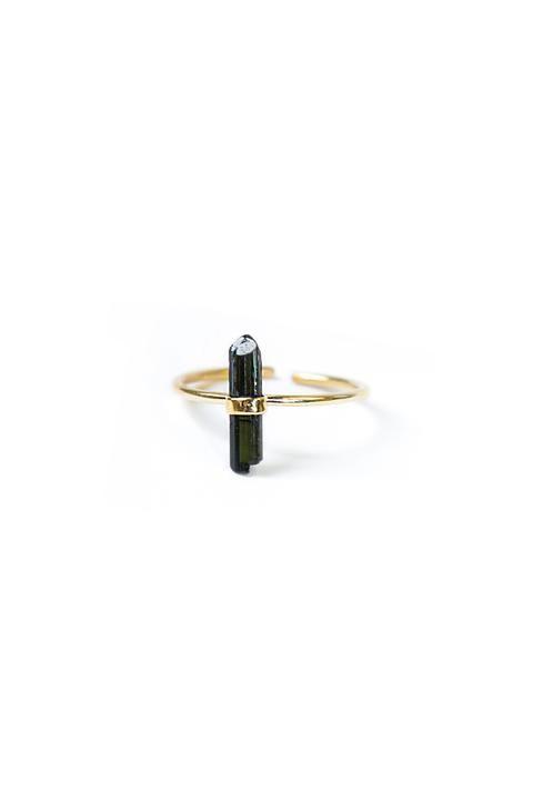 AKUMAL - Bague ajustable en argent 925 plaqué & Tourmaline noire
