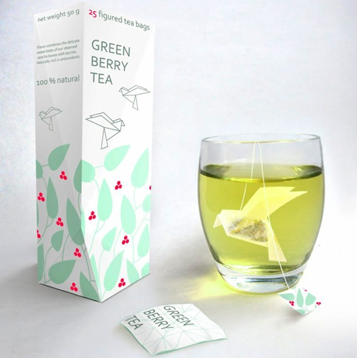 Green Berry Tea Packaging Design with Origami Tea Bags