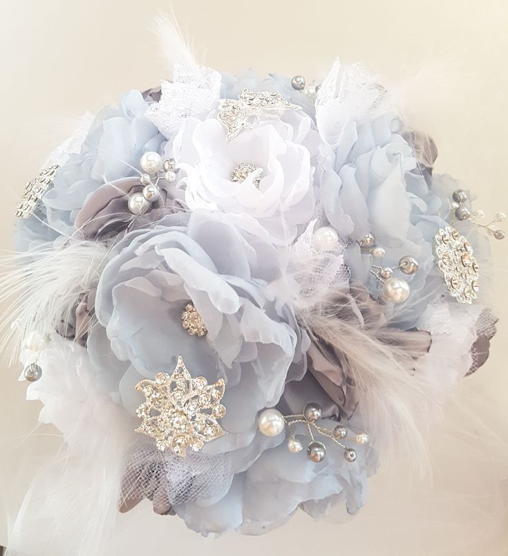 """Something Blue Bridal Brooch Bouquet, Wedding Bouquet,   Fabric Flower Bouquet.  Soft blue grey organza and silver satin handmade fabric flowers. Silver tone brooches, pearls, tulle, lace and soft wispy white feather accents. 8.5"""" bouquet"""