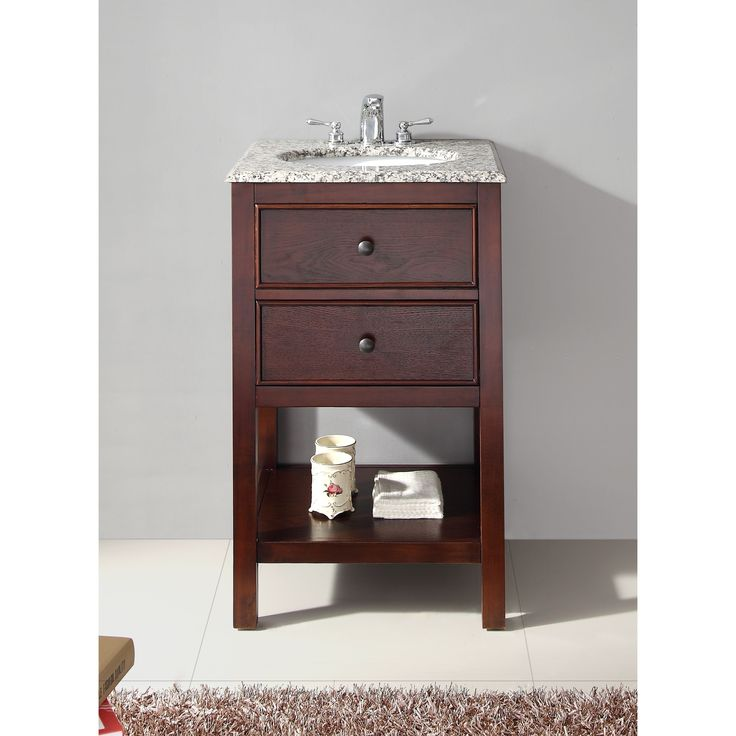Wyndenhall New Haven Walnut Brown 1-functional Drawer 20-inch Bath Vanity  Set With