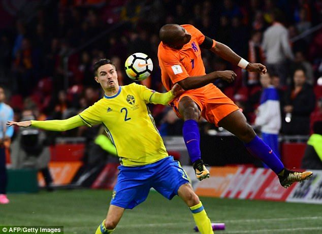 Ryan Babel in action during Tuesday night's final qualifier with Sweden in Amsterdam