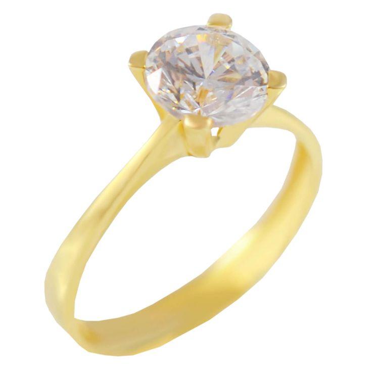 Μ172Ζ- Χρυσό μονόπετρο δαχτυλίδι