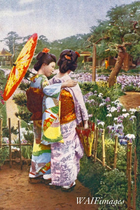 Japanese Girlfriends in a Garden  a vintage photo print from