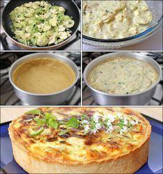 - 3 colheres (sopa) de azeite; - 1/2 cebola picada; - 2 dentes de alho picados; - 1 abobrinha grande ralada - 3 colheres (sopa) de cebolinha verde picada; - sal e pimenta do reino de acordo com seu gosto. Refogar bem. Ao refogado do recheio somei: - 1 xícara de queijo coalho em cubinhos (pode ser qualquer outro queijo); - 3 ovos levemente batidos; - 100 ml de creme de leite (1/2 caixinha); - 2 colheres (sopa) de parmesão ralado; Assar em 200º até dourar por cima
