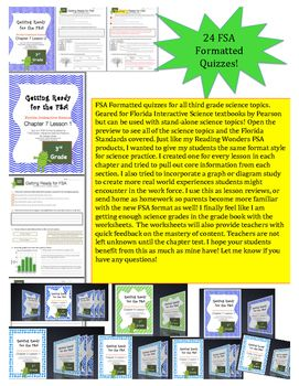 FSA Formatted quizzes for all third grade science topics. Geared for Florida Interactive Science textbooks by Pearson but can be used with stand-alone science topics! Open the preview to see all of the science topics and the Florida Standards covered.