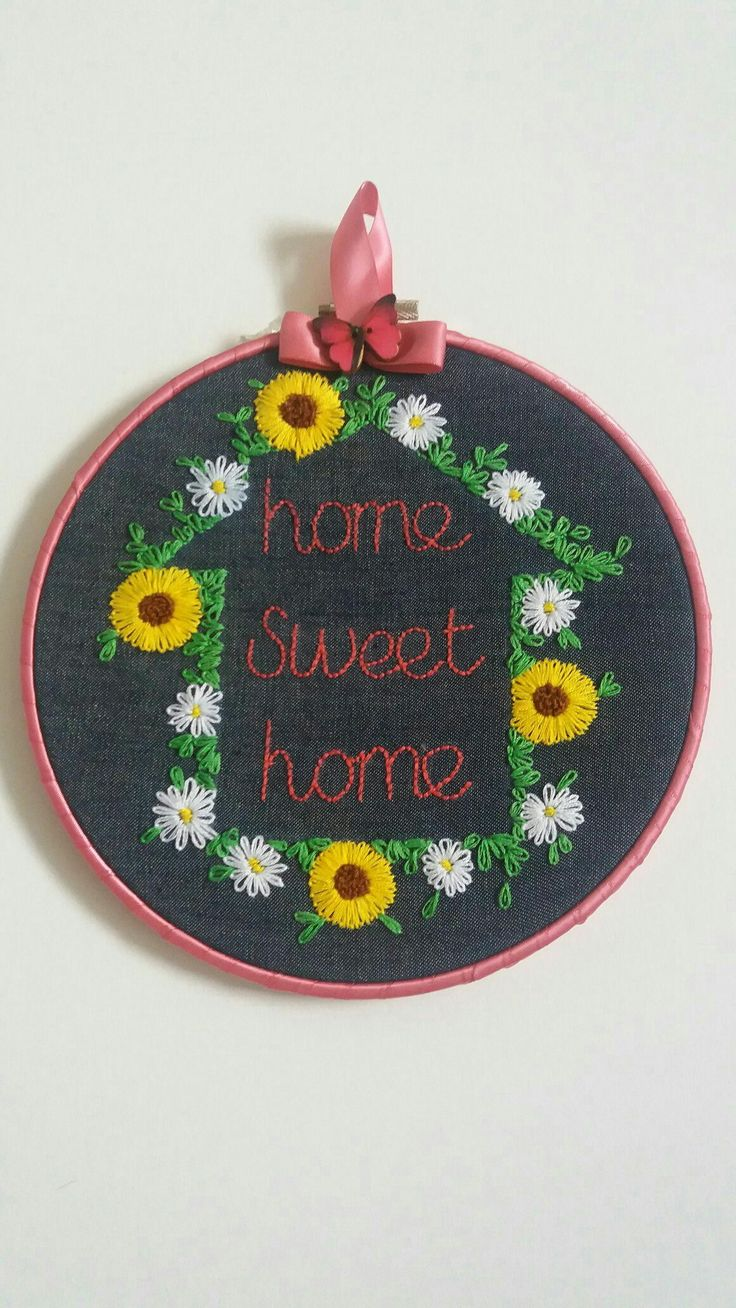 Embroidered hoop home sweet home