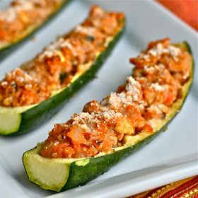 Quinoa & Ground Turkey Zucchini Boats VERY good, yum! Low calorie dinner, especially if you use lean ground turkey (or meat alternative) and parm cheese. FOUR halves (two whole zukes) for about 400 calories.
