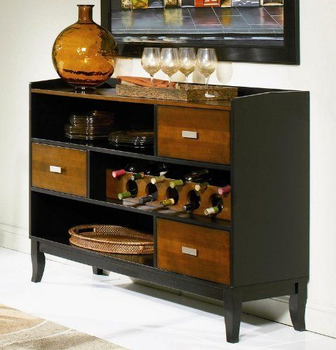 coaster boyer 3 drawer buffet server in two tone cherry and black by coaster home amazoncom oriental furniture korean antique style liquor