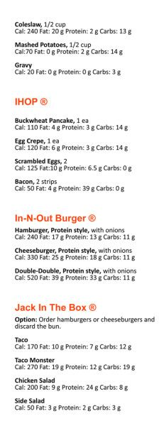 Low carb restaurant fast foods nutrition guide inside page.- free download.