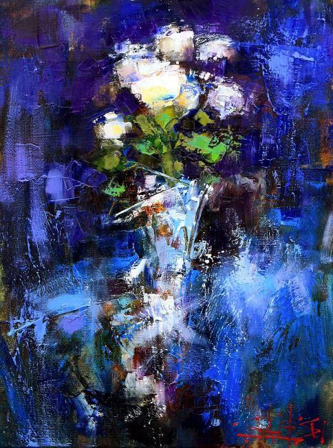 Сухоплюев Константин. Розы на синем, Suhopljuev Constantine. Roses on blue