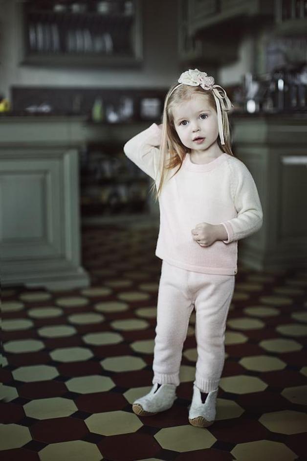 Ombre pink white alpaca pullover / kids sweater - Ingugu - Eko sweterki dla niemowląt