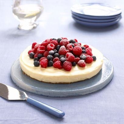 Mary Berry's heavenly lemon cheesecake on a ginger crust makes a great end of dinner centre piece.