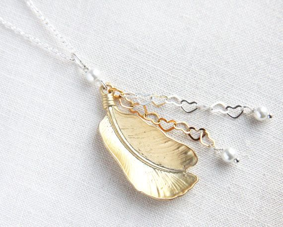 Fine Feather Silver and Gold Necklace Mixed Metal by KapKaDesign, $39.95