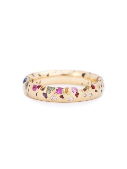 Gouden ring met gekleurde diamanten   ELLE