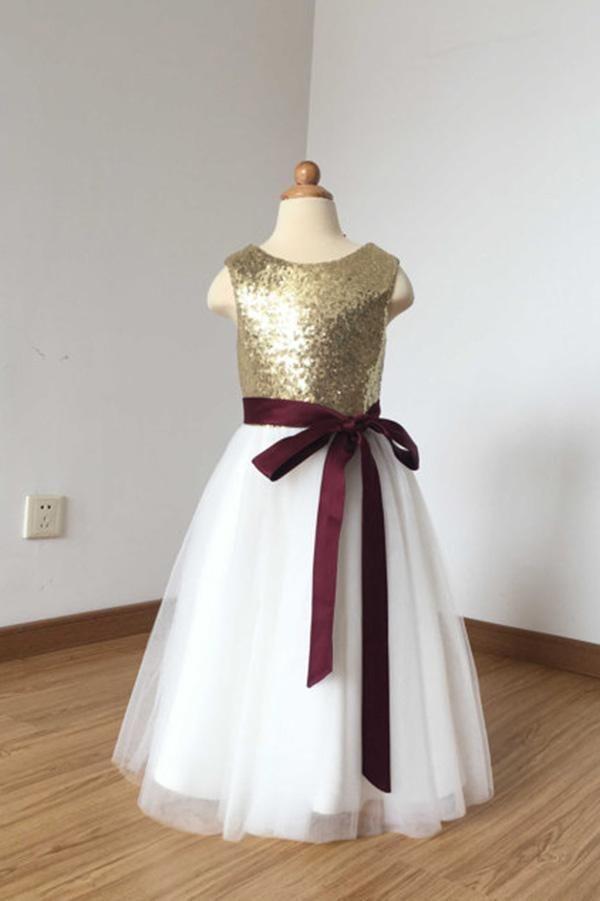 0e79690362e 2018 A Line Simple Light Gold Sequin Ivory Tulle Scoop Flower Girl Dress  with Burgundy Sash PH774