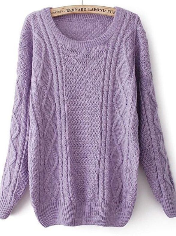 Purple Round Neck Long Sleeve Wool Blend Sweater