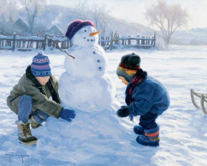 Зима. Robert Duncan. Картинки для декупажа. Часть 2. Зимние игры в сельской местности.: ♥ Creative NN. ♥