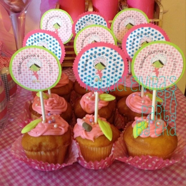Cupcakes at a Spa Party #spa #party