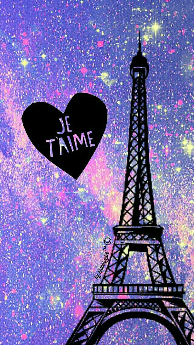 Purple galaxy glitter Eiffel Tower wallpaper I created for the app CocoPPa.