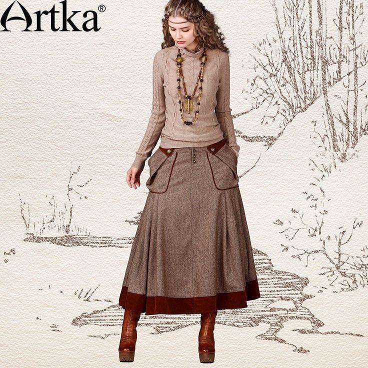 Artka Women's Autumn Vintage Natural Waist Patchwork Solid Big Pockets Medium-Long All-Match Slim Soft Lanon Skirt QA10447Q via Artka.