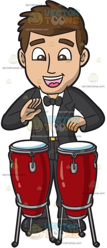 A Man Playing A Conga Drum Set:   A man with brown hair wearing a black tuxedo bow tie shoes white dress shirt and socks parts his lips to smile while hitting a red conga drum with his hands