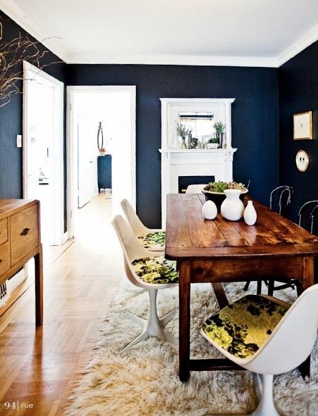 navy blue dining room.